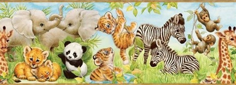Deirdre Green Jungle Pals Portrait Border