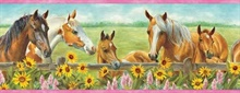 Harmony Pink Horses Sunflowers Portrait Border