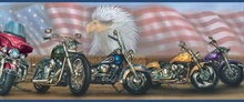 Bruce Blue Americana Motorcycles Portrait Border