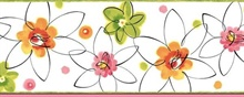 Butterbean Pink Crazy Daisies Toss Border