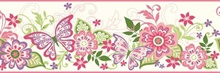 Kendra Pink Butterflies Blooms Trail Border