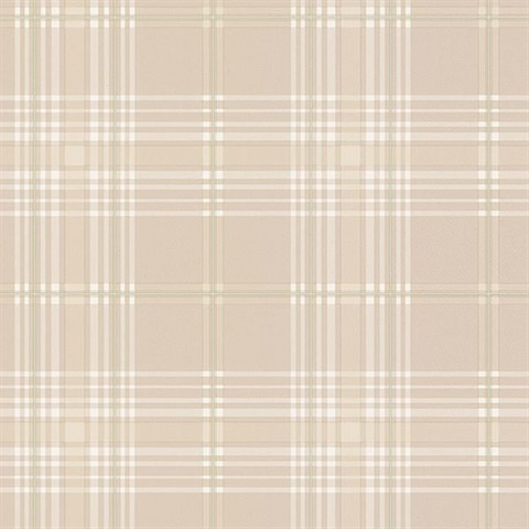 Beige Green & White Plaid