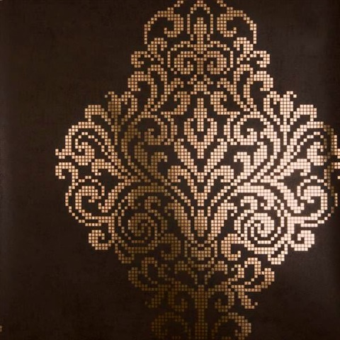 Lux Brown Foil Damask