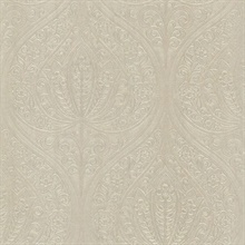 Paolina Beige Embossed Large Damask