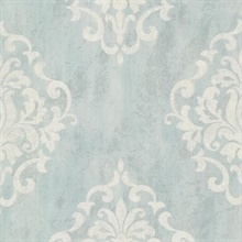 Massa Light Blue Large Ornate Damask