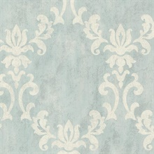 Renna Light Blue Large Scroll Damask