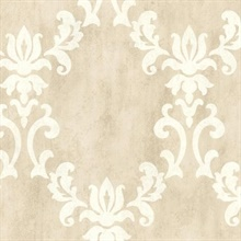Renna Beige Large Scroll Damask