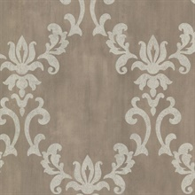 Renna Pewter Large Scroll Damask