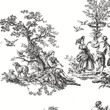 Romanic French Countryside Black & White Toile Wallpaper