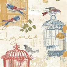 Red Blue and Yellow Birdcage Wallpaper