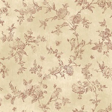 French Nightingale Dark Red Toile