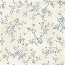 French Nightingale Blueberry Toile