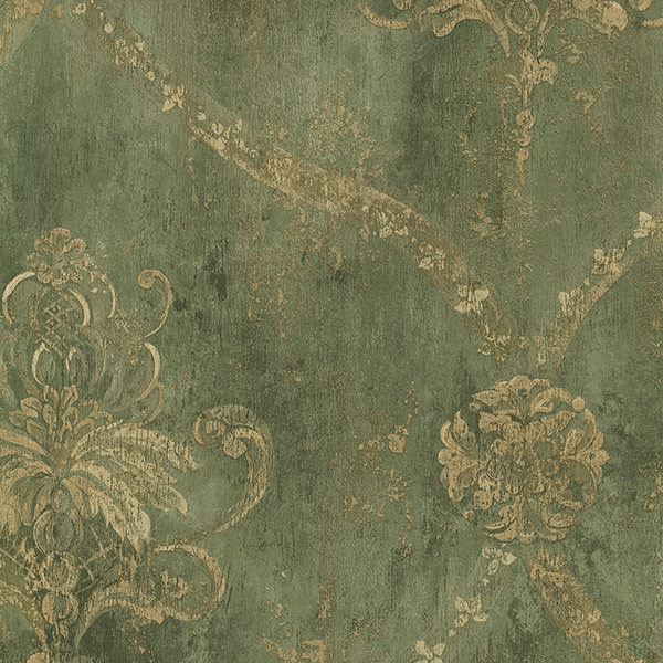 Ch22568 Green Damask Harlequin Wallpaper