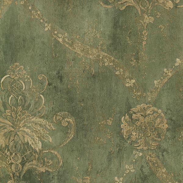 Ch22568 Green Damask Harlequin Wallpaper