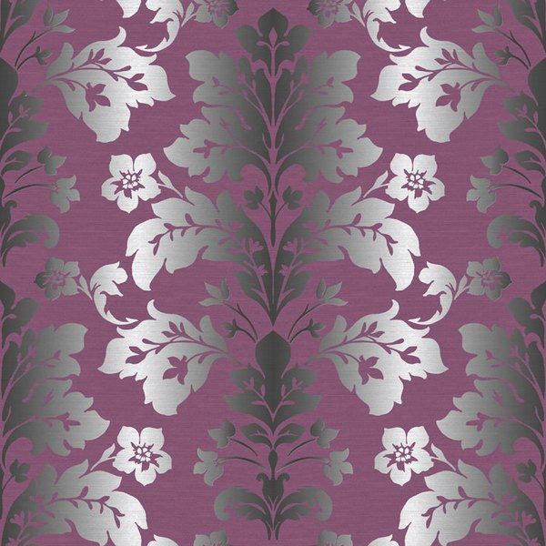 Camila Purple Modern Damask Wallpaper