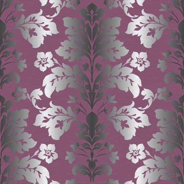 camila purple modern damask wallpaper - Contemporary Damask Wallpaper