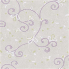 Jada Lilac Girly Floral Scroll