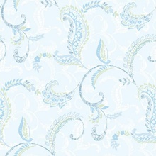 Riley Aqua Paisley Scroll