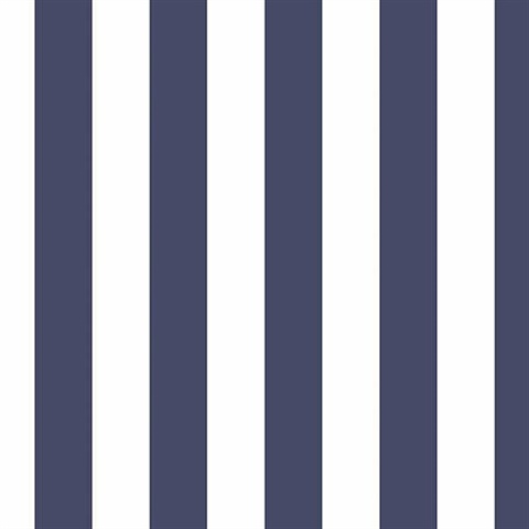 Navy Blue & White Striped Wallpaper