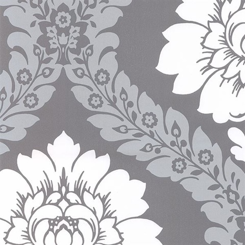 Grey Silver Floral Damask