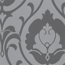 Charcoal & Silver Heirloom Damask