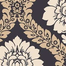 Black & Off White Floral Damask