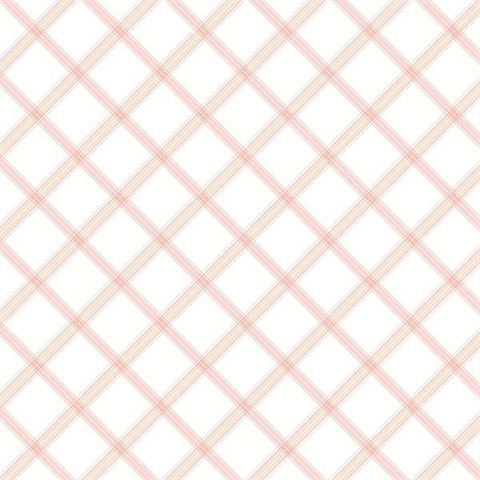 Diagonal Plaid Pink & Beige