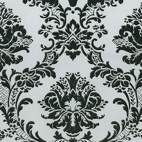 Brixham Raised Damask Black/Grey