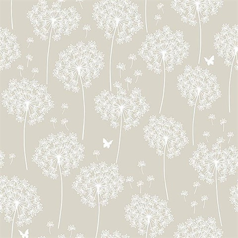 Dandelion Taupe Peel And Stick Wallpaper Nuw1651