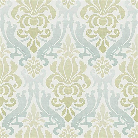 Blue And Green Nouveau Damask L Stick Wallpaper