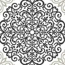 Cassidy Black Medallion Damask
