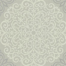 Cassidy Grey Medallion Damask