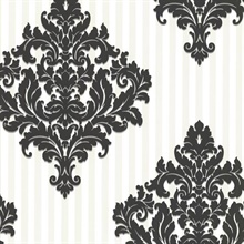 Rowan Black Damask Stripe