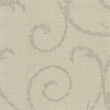 Bates Taupe Textured Scroll Wallpaper