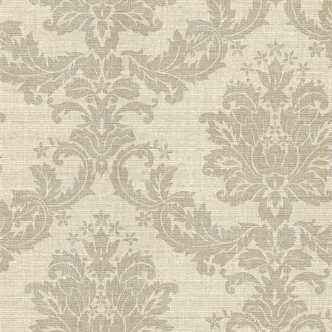 Everest Grey Woven Damask Wallpaper 244683537