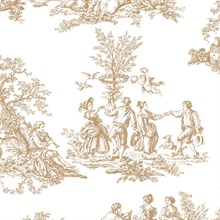 1700s Romanic Gold & Metallic Toile Wallpaper
