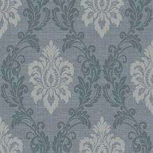 Adela Denim Twill Damask Wallpaper