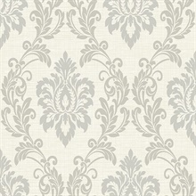 Adela Ivory Twill Damask Wallpaper