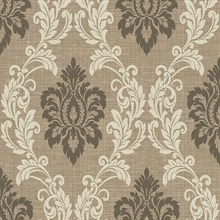 Adela Light Brown Twill Damask Wallpaper