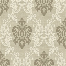 Adela Neutral Twill Damask Wallpaper