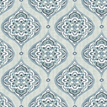 Adele Aqua Damask Wallpaper