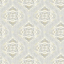 Adele Light Grey Damask Wallpaper