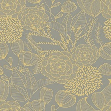 Alannah Taupe Abstract Retro Botanical Floral Wallpaper