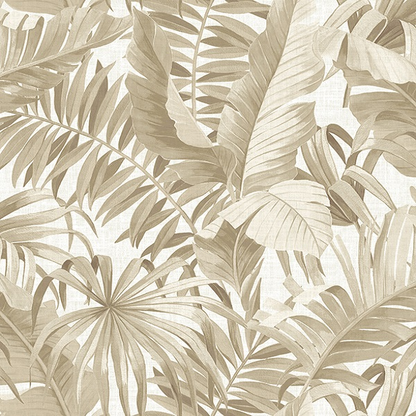 2744 24135 Alfresco Taupe Palm Leaf Wallpaper Boulevard