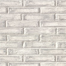 Appleton Grey Faux Weathered Brick Vinyl Wallpaper