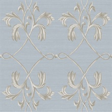 April Blue Acanthus Lattice Wallpaper