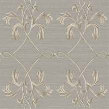 April Charcoal Acanthus Lattice Wallpaper