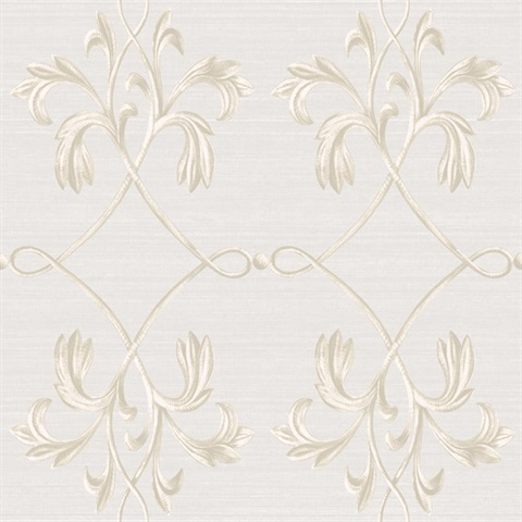 April Light Grey Acanthus Lattice Wallpaper