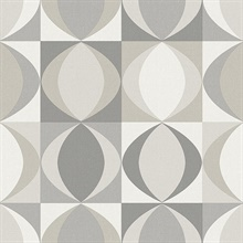 Archer Grey Linen Retro Geometric Wallpaper