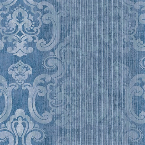 Ariana Dark Blue Striped Damask